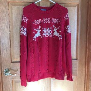 Lands End, Beautiful red reindeer design sweater